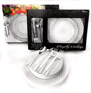 Royalty Settings 72 Piece Heavyweight Disposable Dinnerware Set for 12 Guests: 12 x 10.25