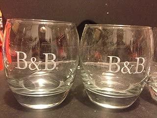Set of 2 B & B French Brandy & Benedictine Cognac Liqueur Logo Round Snifter Lowball Rocks Glasses