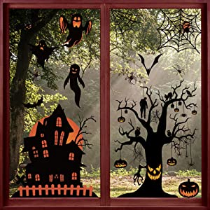 Windimiley Halloween Window Stickers Decorations Set 98 PCS Indoor Window Cling Black Decor Pumpkin Spider Bats Ghost for Halloween Party Home Interior Window Decoration Personalized Ornaments