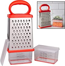 Box Cheese Grater w 2 Attachable Storage Containers- 4-Sided Stainless Steel Slicer and Shredder- 2 Hoppers for Cheeses, Vegetables, Chocolate - Soft Grip Handle and Non-Slip Base