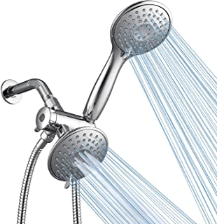 Homelody Shower Head High Pressure 4.3 Dual Shower Head System Chrome, Over 25-Spray Setting Modes Hand Held Shower Separately or Together Combo Equipped with 3-Way Water separator