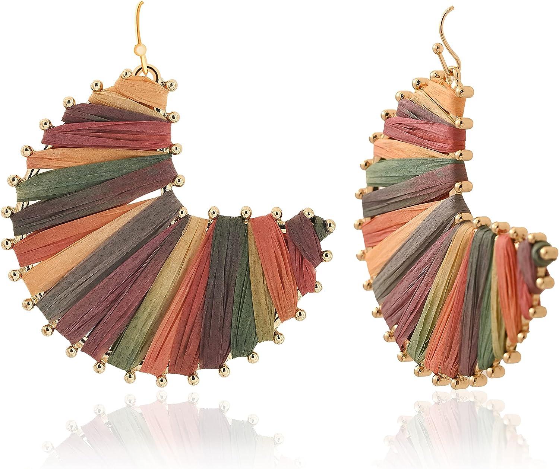 Colorful Raffia Hoop Drop Earrings | Boho Statement Dangle Earrings for Women | Trendy Earrings for Summer and Fall