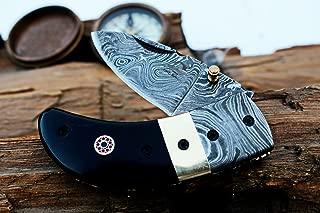 (8 6/18) SALE DKC-43 BLACK THUMB Damascus Steel Folding Pocket Knife 3.5