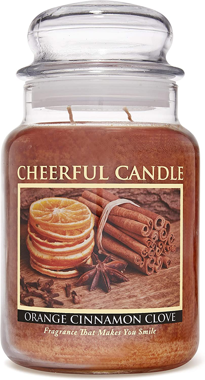A Cheerful Giver - Orange Cinnamon Clove Scented Glass Jar Candle (24 oz) with Lid & True to Life Fragrance Made in USA
