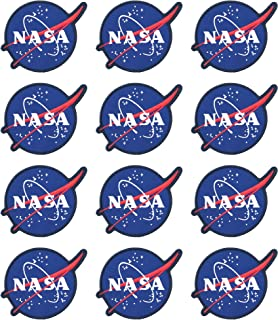 NASA Official Logo Stylish Space Patches (12-Pack) | NASA Iron on Patches | Gift for Space Lover | Perfect Souvenir Gift Collection | Comes with Packaging