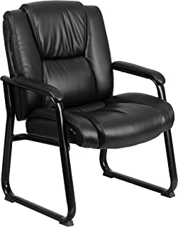 Flash Furniture Reception Chairs | Black LeatherSoft Side Chairs for Reception and Office