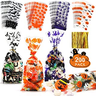200 Pieces Halloween Cellophane Bags Halloween Theme Cello Treat Gift Bags Pumpkin Bat Printed Candy Bags with 200 Pieces ...
