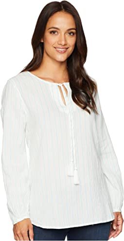 Soft Summer Cabana Stripe Long Sleeve Shirt with Tie Tassel