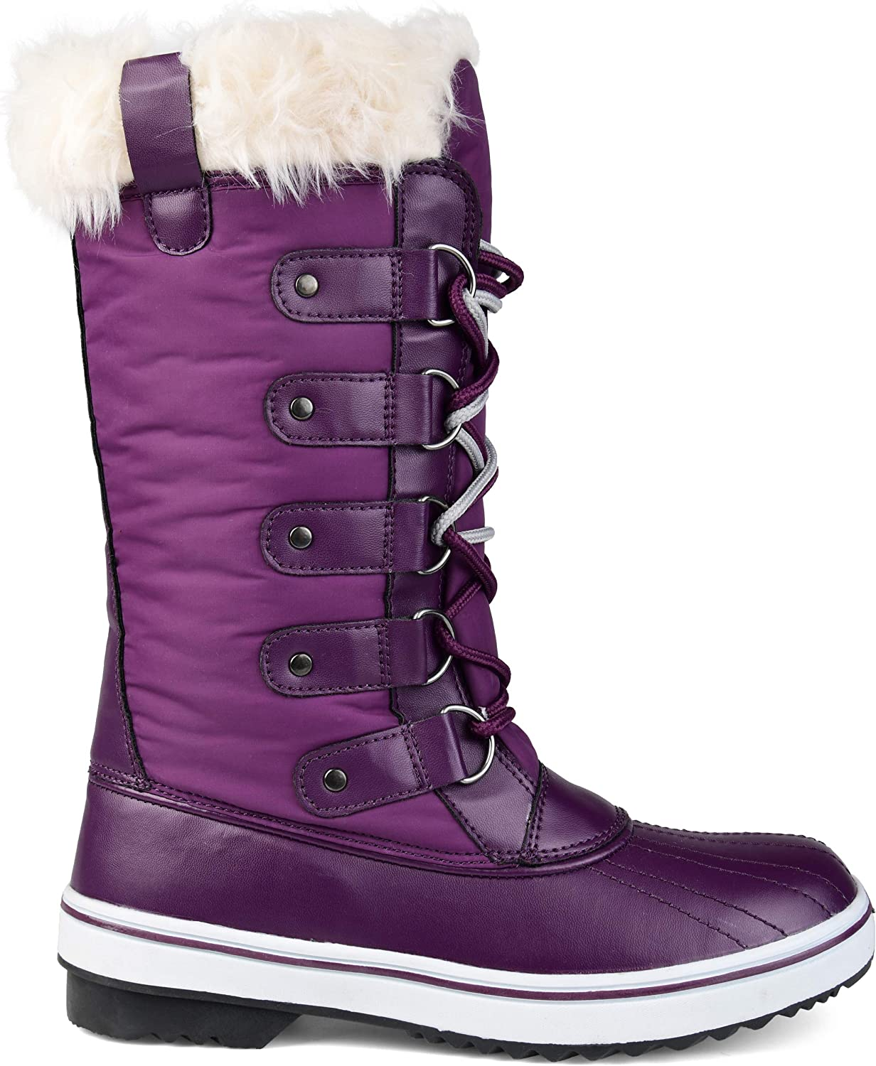 Brinley Co. Womens Lined Lace-up Snow Boot Purple, 7 Regular US