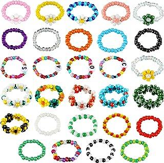 29 Pieces Flower Beaded Ring Daisy Flower Bead Rings Set Rice Bead Rings Cute Handmade Vsco Boho Beach Rings Colorful Jewe...