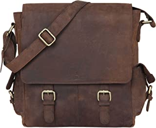 "LEADERACHI Unisex Hunter Leather Crossbody Messenger Bag 14"" inch Messenger Bag Travel Bag"