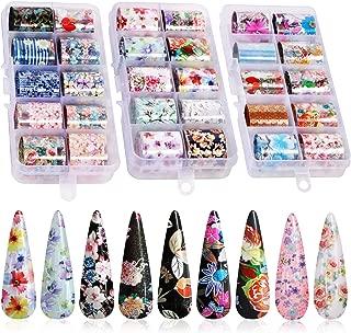30 Color Nail Foil Transfer Sticker, Kissbuty Flower Nail Art Stickers Tips Wraps Foil Transfer Adhesive Glitters Acrylic DIY Nail Decoration, 3 Boxes (Flowers Starry Sky)
