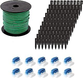 ECENCE Set de accesorios y reparación para robot cortacésped, 50m el cable delimitador + 10x conector + 100x gancho, unive...