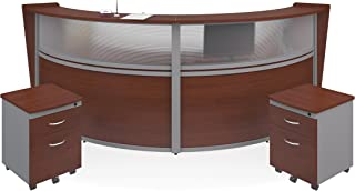 OFM Marque Series Plexi Double-Unit Curved Reception Station - Office Furniture Receptionist/Secretary Desk with Two Cherry Pedestals (PKG-55312-CHY)