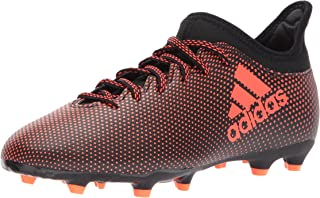 Boys' X 17.3 FG J Soccer Shoe, Black/Solar Red/Solar Orange, 12 Medium US Little Kid