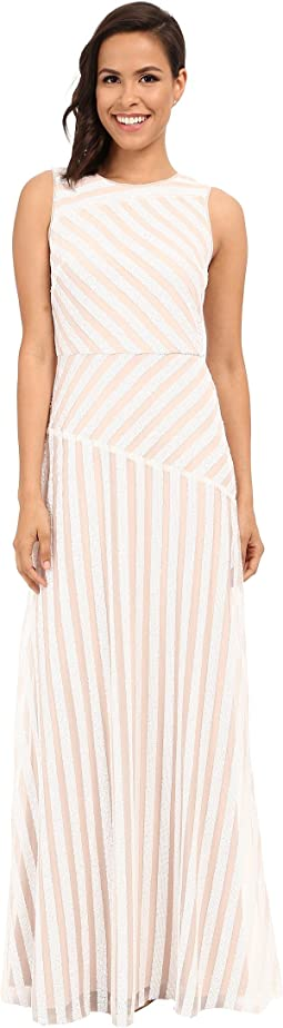 Gigi Boat Neck Striped Sequin Gown