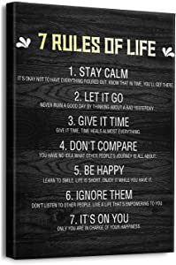 Inspirational Quotes Wall Art for Office 7 Rules of Life Motivational Poster Canvas Prints Framed Positive Affirmations Wall Decor Modern Home Artwork 12