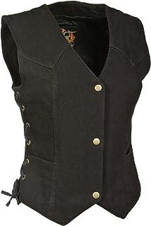 Milwaukee Performance Women's Denim 3 Front Snaps Vest (Black, Medium) (14/12 OZ DEN)
