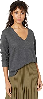Majestic Filatures Women's Cotton/Cashmere Long Sleeve V-Neck, Anthracite gris Chine