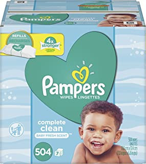 Baby Wipes, Pampers Sensitive Water Baby Diaper Wipes, Complete Clean Scented, 7 Refill Packs for Dispenser Tub, 504 Total Wipes