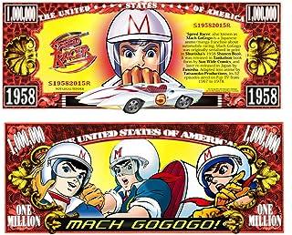 Speed Racer Vintage Anime Japanese Cartoon Series Race Car Mach Gogogo Commemorative Novelty Million Bill with Semi-Rigid Protector