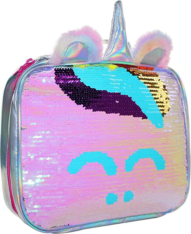 Lunch Boxes Mingdou Insulated Lunch Bog For Girl And Women Lunch Cooler Tote Reversible Sequin Flip Color Change Fashion Lunch Tote With Two Lovely Plush Ears