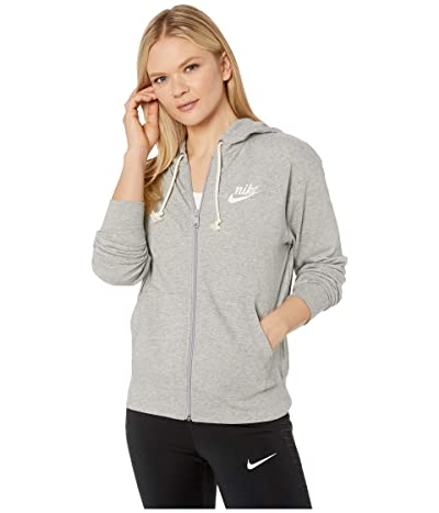 Nike NSW Gym Vintage Hoodie Full Zip (Dark Grey Heather/Sail) Women