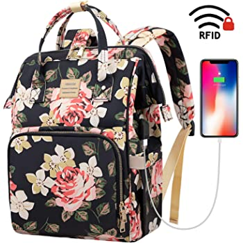 Laptop Backpack,15.6 Inch Stylish College School Backpack with USB Charging Port,Water Resistant Casual Daypack Laptop Backpack for Women/Girls/Business/Travel