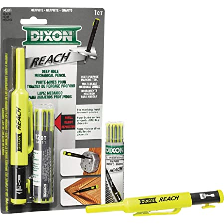 Dixon Industrial REACH- Deep Hole Mechanical Pencil with Lead Refills included, Yellow (14301)