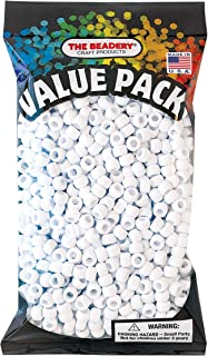 The Beadery 6 by 9mm Barrel Pony Bead, White, 900-Pieces