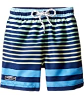Toobydoo - Multi Stripe Blue Green Yellow Swim Shorts (Infant/Toddler/Little Kids/Big Kids)