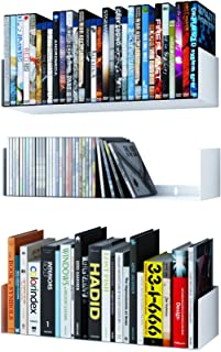 Wallniture Bali U Shape Bookshelves - Wall Mountable Metal CD DVD Storage Rack White Set of 3