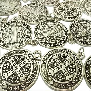 Lot of 25 Saint St Benedict of Nursia Patron Against Evil Medal Pendant 1 1/4 Inch