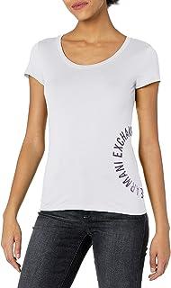 A|X Armani Exchange Women's Circular Logo Crew Neck Short Sleeve T-Shirt