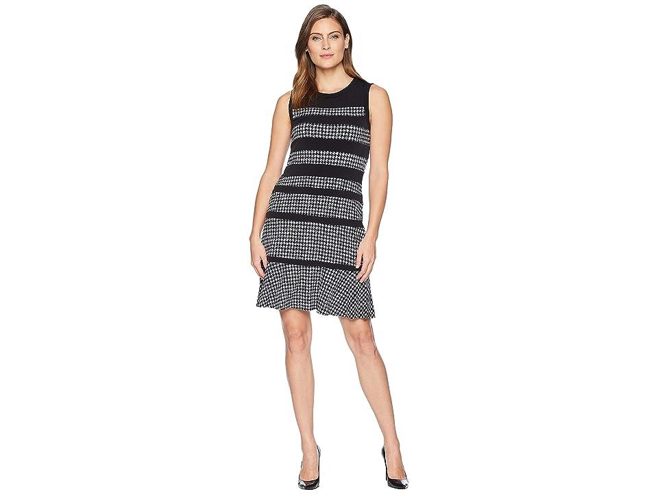 MICHAEL Michael Kors Hound Paneled Sleeveless Dress (Black/White) Women