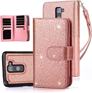 TabPow LG G Stylo 2 (LS775) Case, 10 Card Slot - [ID Slot] Wallet Folio PU Leather Case Cover with Detachable Magnetic Hard Case for LG G Stylo 2 LS775 - Glitter Rose Gold