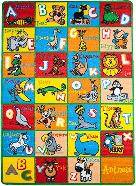 Mybecca Kids Rug Alphabet Animals Area Rug 8 X 11 Non Slip Gel Backing Size Approximate 7 Feet 10 Inch By 11 Ft 3 In 7 10 X 11 3