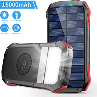 $26 » Solar Charger, Portable charger 16000mAh, Solar Power Bank External Backup Battery, Type-C Input Port, Waterproof Solar Phone Charger, Panel Charging for Smartphones, 15 LED Flashlight for Outdoor