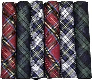 ETHO 6 Pack Mens Boxed 100% Cotton Tartan Handkerchiefs