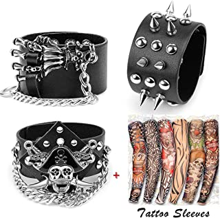 Yariew 3 Pcs Spike Studded Rivet Punk Rock Biker Wide Strap Leather Bracelet Chain Wristband Rocker Costume Accessories Adjustable + 6 Pcs Temporary Tattoo Sleeves