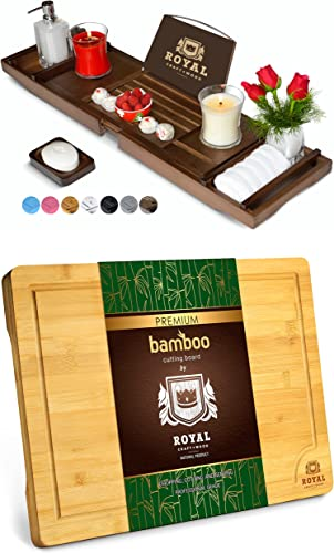 """Luxury Bathtub Caddy Tray (Brown) and Cutting Board XL (18"""" x 12"""") by Royal Craft Wood"""