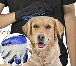 ArdaVan [New Version 259 Tips] Five Finger Pet Grooming Gloves Silicone Massage Hair Remover Dog Cat Cleaning Brush Magic Glove 2 Blue pet Gloves 1 Left-Hand and 1 Right-Hand [1 Pair]