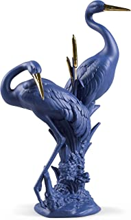 Lladro Limited Edition Blue-Gold Courting Cranes Sculpture #9400