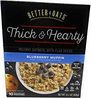 Better Oats, Blueberry Muffin Instant Oats, 15.1oz Box (Pack of 3)