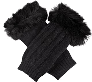 Dents Women's Lambswool Angora & Nylon Blend Cable Knit Wrist Warmers With Fur Cuff