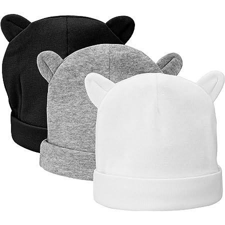 CNNIK 3 Piezas Bebé Beanie Sombrero Recién Nacidos Niño Pequeño Sombrero para 0-3 Meses Bebés Niños Niñas Gorros Otoño Otoño Invierno (Color Oscuro)