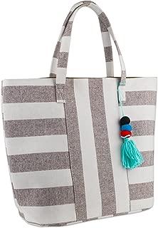 DII Boho Stripe Beach Bag 16x20x7 Shoulder Travel Tote Black, Boho Stripe Brown