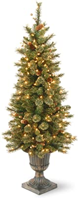 National Tree Company Pre-lit Artificial Christmas Tree For Entrances  Flocked with Cones and Gold Berries   Includes Pre-strung White Lights   Glittery Gold Pine - 4ft