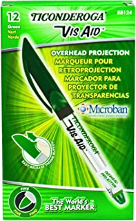 TICONDEROGA Vis-Aid Overhead Projector Transparency Markers, Fine Point, Green, 12-Pack (88124)