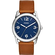 Men's Ledger Stainless Steel and Leather Casual Quartz Watch